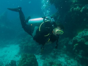 Jan honing her diving skills on the Great Barrier Reef