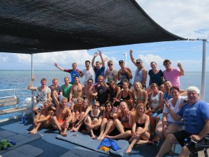 The large group of divers enjoying the GBR